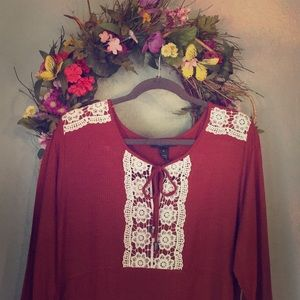 Style & Co boho rust top with 3/4 length sleeves